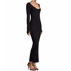 L'AGENCE Long sleeve black ribbed-knit maxi dress